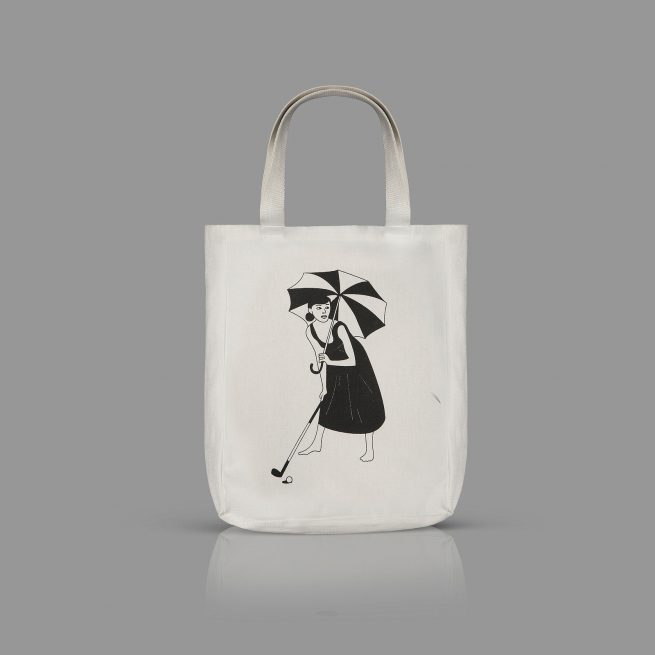 Girl with an Umbrella Tote