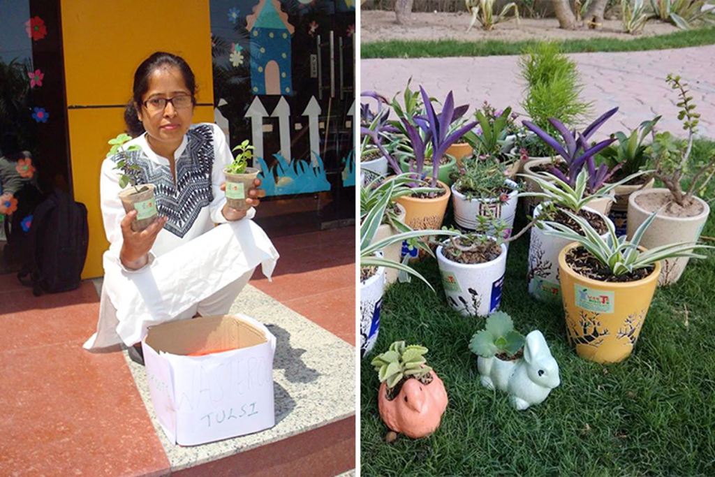 This Noida Lady Lets You Exchange Old Newspapers For Potted Plants
